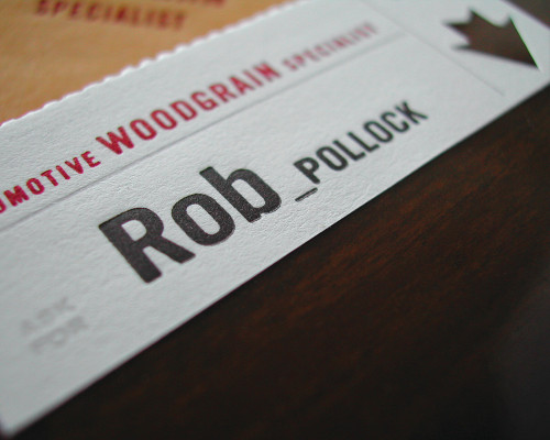 Rob Pollock, Automotive Woodgrain Specialist, Business Cards