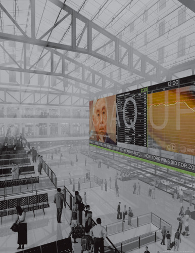 Media wall for renovation of Penn Station