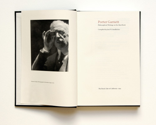 Porter Garnett, Philosophical Writings on the Ideal Book