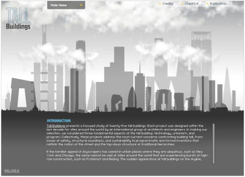"Website, ""Tall Buildings"" exhibition, Museum of Modern Art"