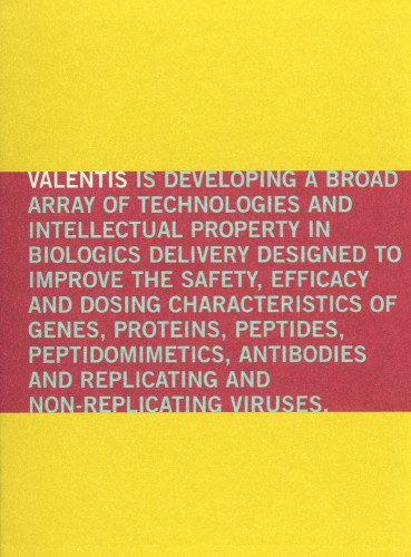Valentis 1999 Annual Report