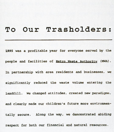 To Our Trashholders Annual Report