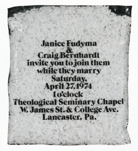 Janice Fudyma and Craig Bernhardt. . ., rice pack wedding invitation