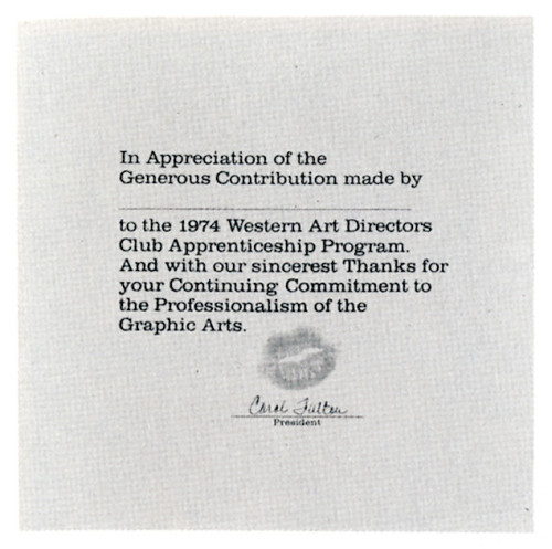 """In Appreciation of the Generous Contribution . . ."", certificate"