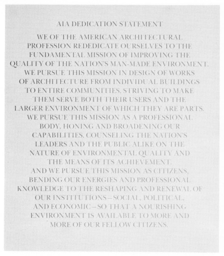 AIA Dedication Statement, brochure