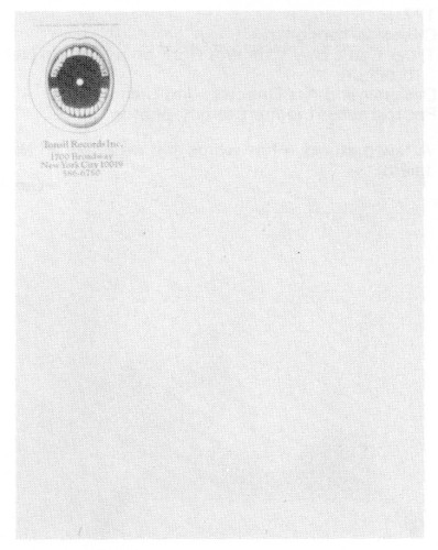 Tonsil Records, Inc., stationery, business card