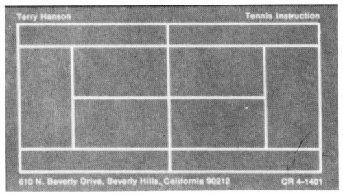 Terry Hanson Tennis Instruction, business card