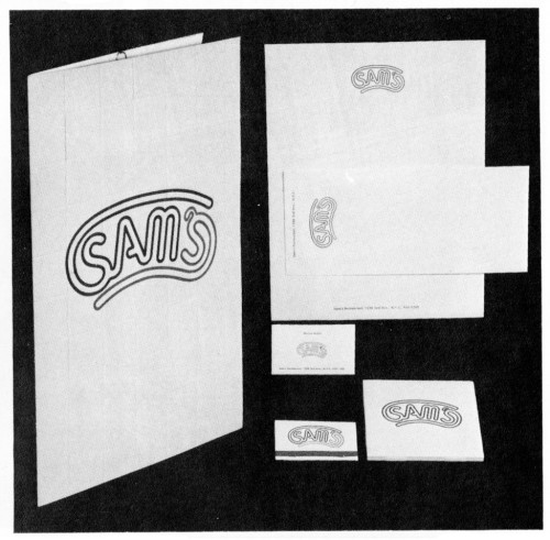 Sam's, menu, stationery, tiles, matchbook