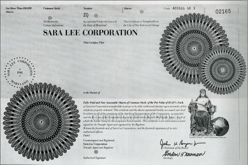 Sara Lee Corporation Stock Certificate