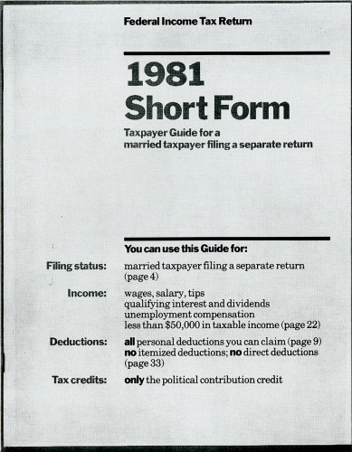 Federal Income Tax Return Forms 1981
