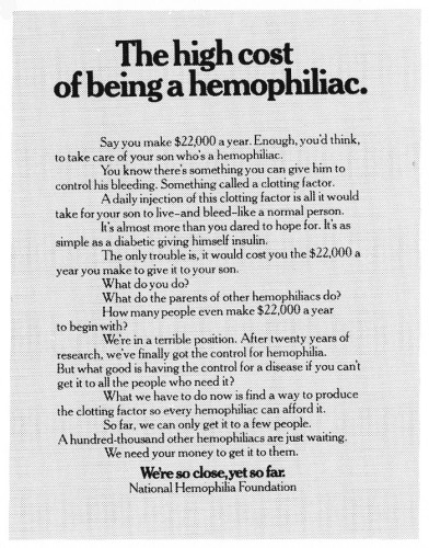 """The high cost of being a hemophiliac."""