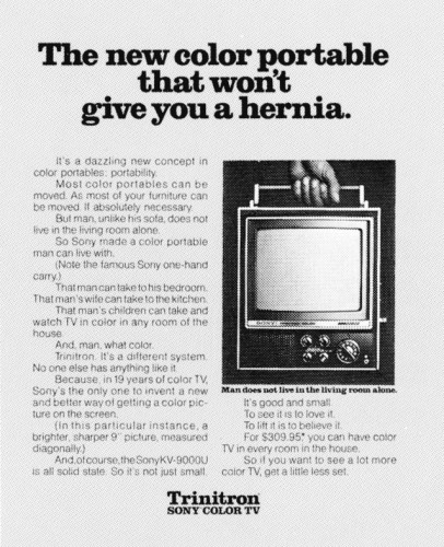 """The new color portable that  won't give you a hernia."""