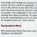 Typographers West Business Papers