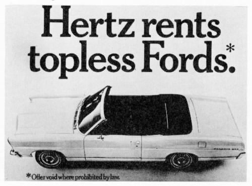 Hertz Rents Topless Fords poster