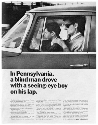In Pennsylvania\, a blind man drove with a seeing-eye boy on his lap.