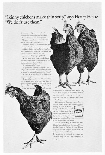 """Skinny chickens make thin soup…"""