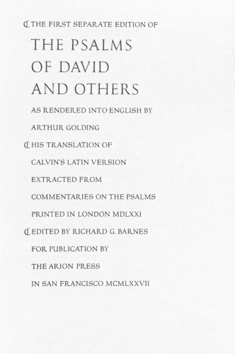 The Psalms of David and Others