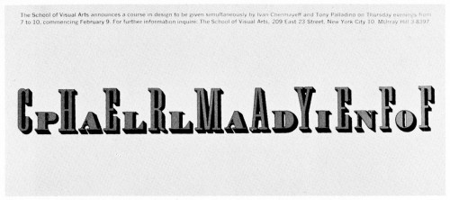 School of Visual Arts, mailing card [Chermayeff/Palladino Course]