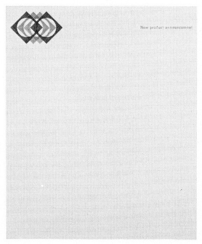 New Product Announcement, letterhead