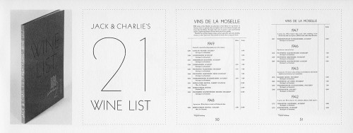 Jack & Charlie's 21 Wine List