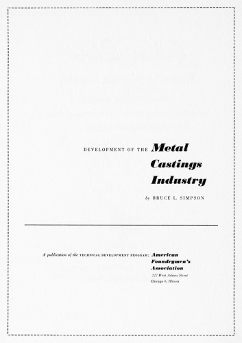 Development of the Metal Castings Industry