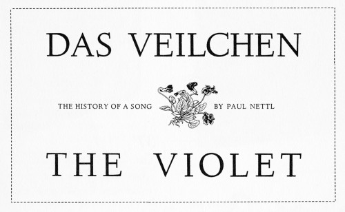 The Violet (Das Veilchen), The history of a song