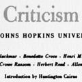 Lectures in Criticism, The Johns Hopkins University