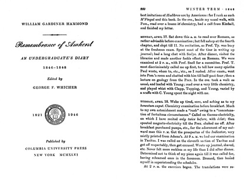 Remembrance of Amherst, An Undergraduate's Diary, 1846–1848
