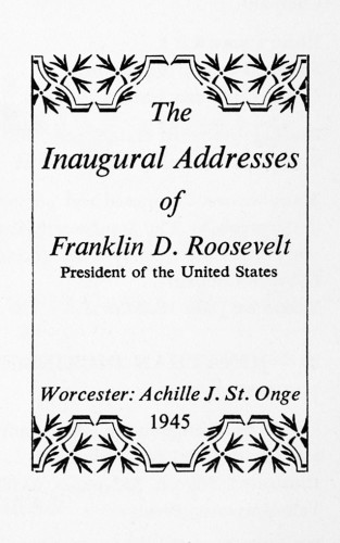 The Inaugural Address of Franklin D. Roosevelt
