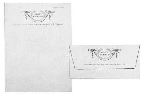 John Gerald letterhead and envelope