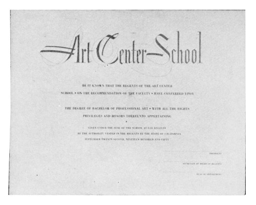 Art Center School Graduation certificate