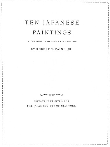 Ten Japanese Paintings in the Museum of Fine Arts, Boston