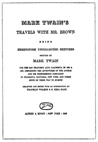 Mark Twain's Travels with Mr. Brown