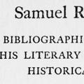 Samuel Richardson, A Bibliographical Record of his Literary Career, with Historical Notes