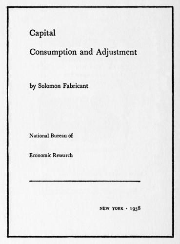 Capital Consumption and Adjustment