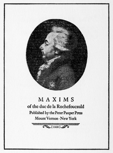Maxims of the duc de la Rochefoucauld