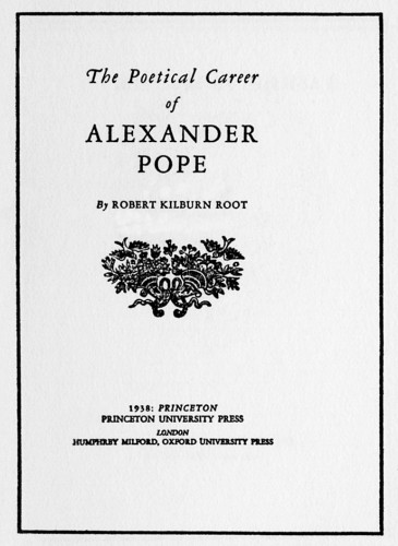 The Poetical Career of Alexander Pope