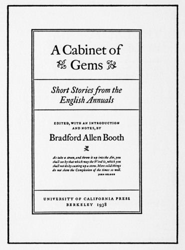 A Cabinet of Gems, Short Stories from the English Annuals