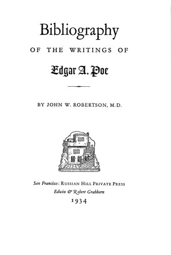 Bibliography of the Writings of Edgar A. Poe
