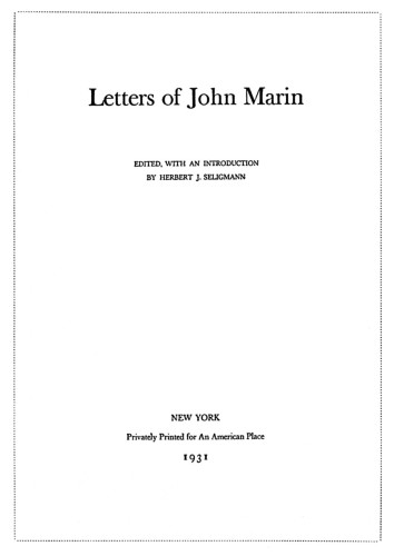 Letters of John Marin