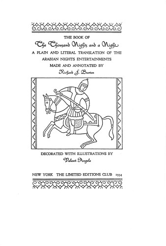 The Book of the Thousand Nights and a Night A Plain and Literal Translation of The Arabian Nights Entertainments