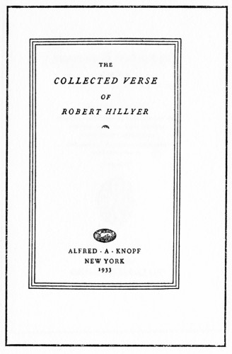 The Collected Verse of Robert Hillyer