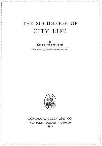The Sociology of City Life