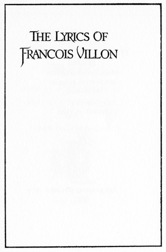 The Lyrics of Francois Villon