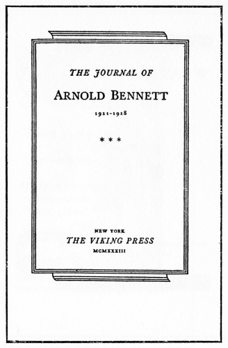 The Journal of Arnold Bennett 1921–1928