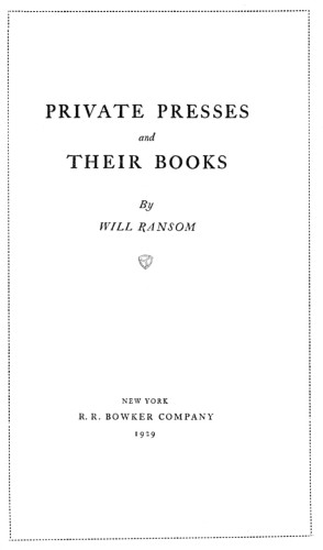 Private Presses and Their Books