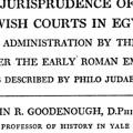 The Jurisprudence of the Jewish Courts in Egypt: Legal Administration by the Jews under the Early Roman Empire as Described by Philo Judaeus