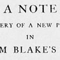 A Note on the Discovery of a New Page of Poetry, in William Blake's Milton