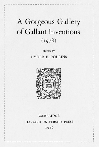 A Gorgeous Gallery of Gallant Inventions (1578)
