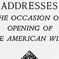 Addresses on the Occasion of the Opening of the American Wing